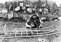 Siberian Eskimo man constructing sled, East Cape, Siberia, between 1917 and 1927 (AL+CA 4853).jpg