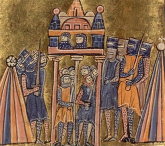 Manuel Boutoumites - The siege of Nicaea, from a Western European illuminated manuscript.