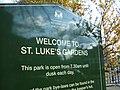 Sign at entrance to St Luke's Gardens - geograph.org.uk - 1808648.jpg
