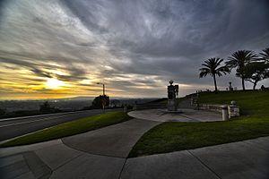Signal Hill, California - Sun setting over Long Beach from Signal Hill Hilltop Park.