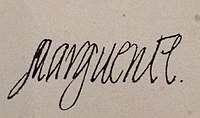Signature of Marguerite of France (wife of Henri IV of France).JPG