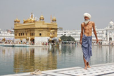 Sikh pilgrim at the Golden Temple (Harmandir Sahib) in Amritsar, India.jpg