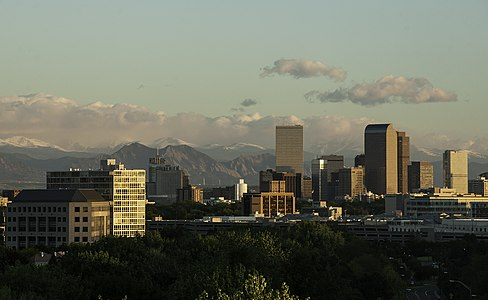 Denver and nearby mountains as seen from the rooftops of the Cherry Creek neighborhood Silicon Mountain.jpg
