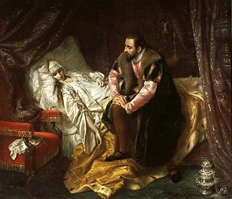 Sigismund II Augustus - Death of Barbara Radziwiłł, painting by Józef Simmler