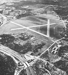Skarpnäck Airfield in 1967 showing the track formed from the triangular shape of the three intersecting runways