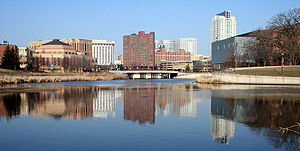 Rochester, Minnesota - Downtown Rochester reflected in the Zumbro River