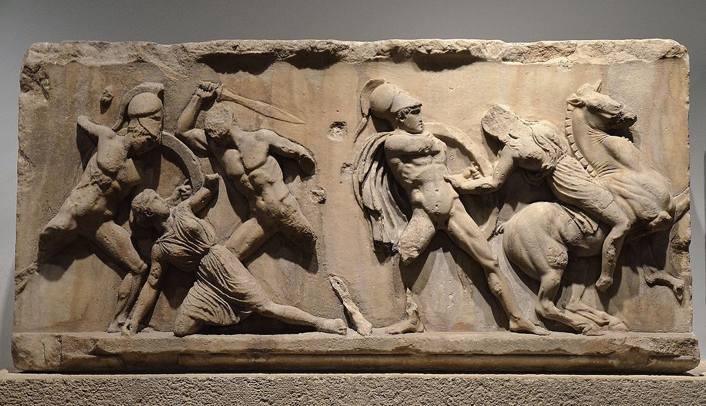 File Slab Of The Amazonomachy Frieze From The Mausoleum At