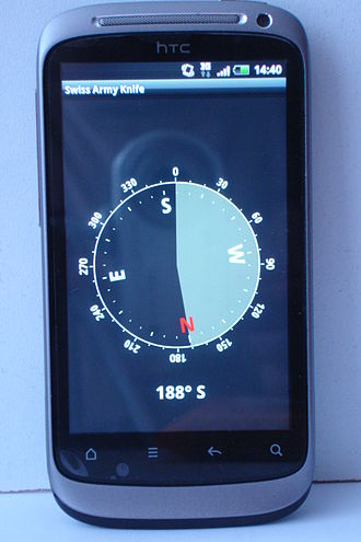 Compass - A smartphone that can be used as a compass because of the magnetometer inside.