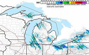 Snowsquall - Radar trace of lake-effect snowsqualls off the Great Lakes from US radars