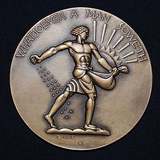 Society of Medalists - Society of Medalists Issue 5, Whatsoever a Man Soweth That Shall He Also Reap, by Lee Lawrie. 1932 bronze