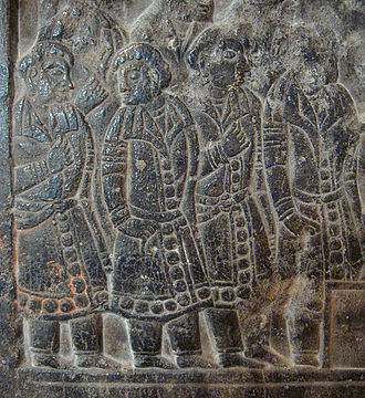 Sogdia - Sogdians, depicted on a Chinese Sogdian sarcophagus of the Northern Qi Dynasty (550–577 AD)