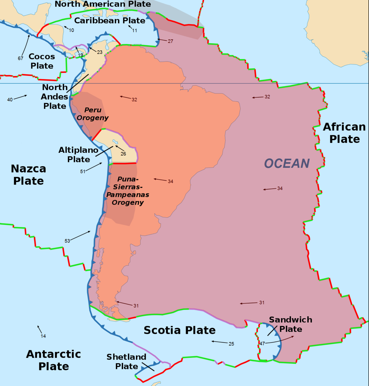 South American Plate Wikipedia - Pate boundaries off the coasts us map