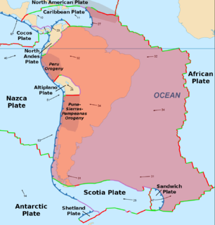 South American Plate A major tectonic plate which includes most of South America and a large part of the south Atlantic