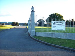 Otaihanga - The entrance to Southward Car Museum from Otaihanga Road.