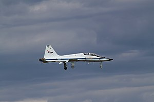 Space Shuttle Discovery T-38 escort landing at Dulles.jpg