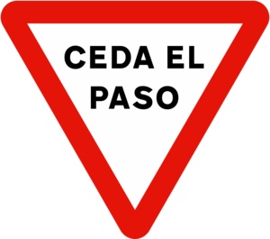 Yield sign - Image: Spain traffic signal r 1 (Variante)
