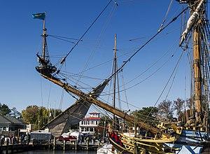 Sprit topmast - The replica ship Kalmar Nyckel 's sprit topmast