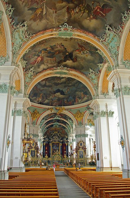 The interior of the Cathedral is one of the most important baroque monuments in Switzerland St.Gallen Abbey.JPG