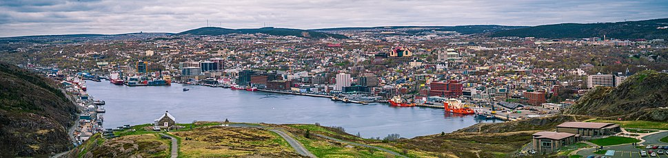 Downtown St. John's from Signal Hill. The city's location on the Avalon Peninsula's northeast coast makes it North America's most easterly city (excluding Greenland).