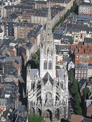 Church of Saint-Maclou - Aerial view showing west façade and lantern tower