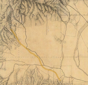 Old Santa Susana Stage Road - 1880 manuscript map of the western San Fernando Valley, with the stage route from Rancho Los Encinos to Santa Susana Pass (upper left) highlighted.