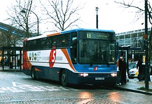 Stagecoach in Bedford - A Volvo B10M coach on route X5 at Milton Keynes station, these were displaced by newer coaches in 2009.