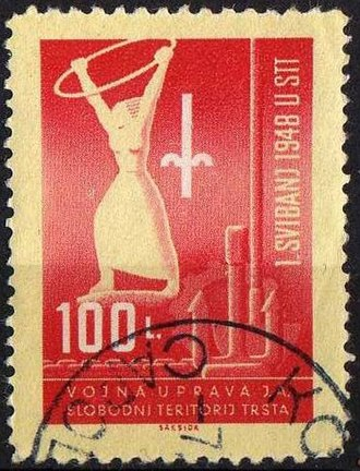 Free Territory of Trieste - A postage stamp for Zone B of the Free Territory, 1948.