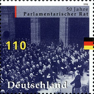 Basic Law for the Federal Republic of Germany - German stamp commemorating the work of the Parlamentarischer Rat