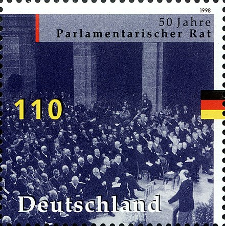 German stamp commemorating the work of the Parlamentarischer Rat Stamp Germany 1998 MiNr1986 Parlamentarischer Rat.jpg