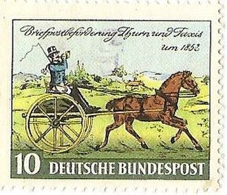 Thurn-und-Taxis Post - Deutsche Bundespost 1952 stamp depicting a Thurn-und-Taxis cariole