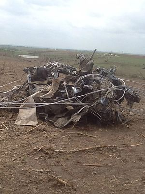 Tornado outbreak of June 16–18, 2014 - Remains of a car that was thrown over a quarter-mile by the EF4 Stanton tornado.