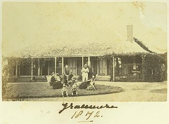 Gracemere Homestead - Archer family having tea on the lawn at Gracemere, 1872