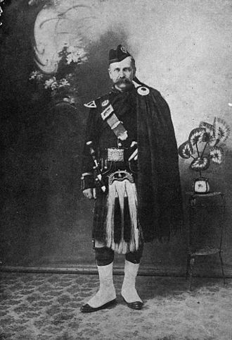 City of Charters Towers - William Grant Clark, Mayor of Charters Towers, wearing the plaid of the hunting Stewart clan, 1908