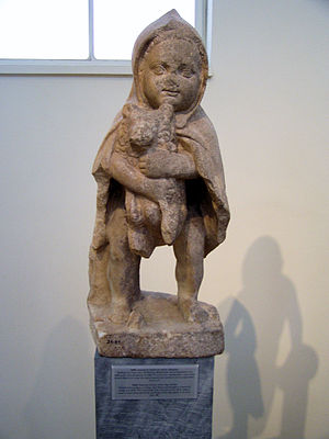 Statuette of a boy with a dog NAMA 3485 (DerHexer).JPG