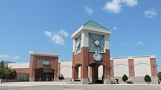 Steeplegate Mall - Steeplegate Mall's clock tower and main entrance leading to the food court.
