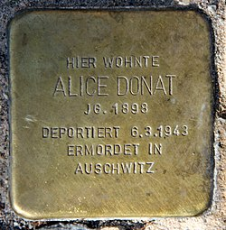 Photo of Alice Donat brass plaque
