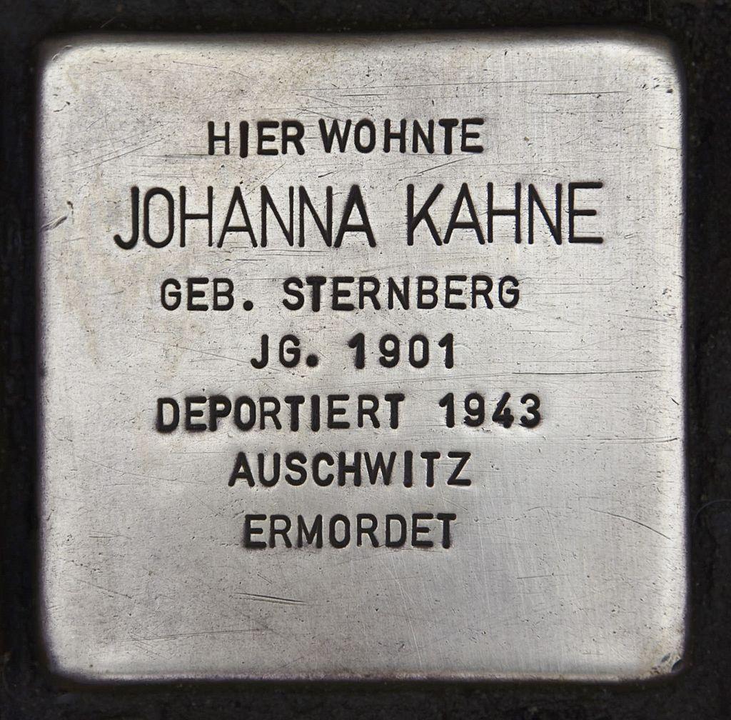 Stolperstein für Johanna Kahne.JPG