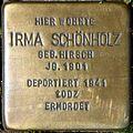 Stumbling block for Irma Schönholz (Mauritiussteinweg 81)
