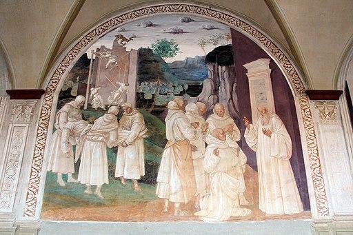 Luca Signorelli, le storie di San Benedetto, Scena 24 - Come Benedetto resuscita lo monacello cui era caduto lo muro addosso