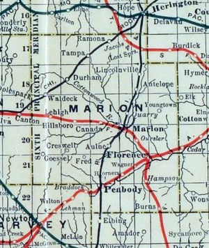 Hillsboro, Kansas - 1915 Railroad Map of Marion County