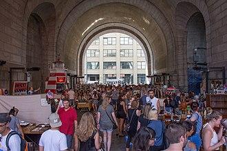 Dumbo, Brooklyn - A street fair under the Manhattan Bridge overpass in July 2017