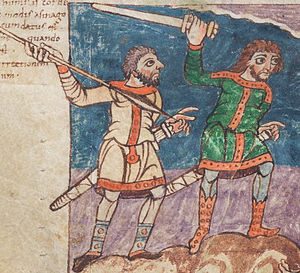 Viking sword - Two men armed with swords, detail of an illustration from the Stuttgart Psalter (fol. 7v), dated c. 830.