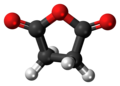 Ball-and-stick model of the succinic anhydride molecule