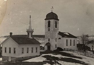New Glarus, Wisconsin - The Swiss Reformed Church in New Glarus, which was destroyed by fire in 1899.