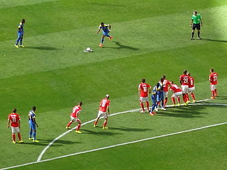Vanishing spray - Vanishing spray in use at the 2014 FIFA World Cup