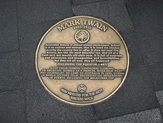 Mark Twain - Plaque on Sydney Writers Walk commemorating the visit of Twain in 1895