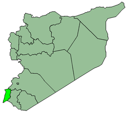Map of Syria with Quneitra highlighted.