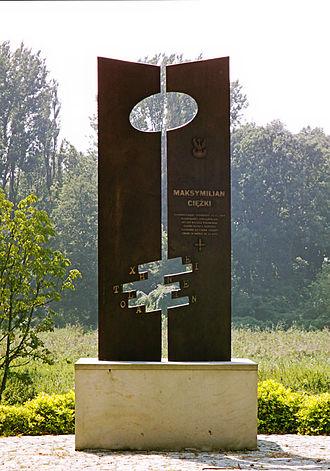 Maksymilian Ciężki - Maksymilian Ciężki Monument, ulica Dworcowa (Railroad Station Street), Szamotuły (Ciężki's home town), Poland