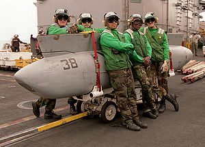 Tactical Airborne Reconnaissance Pod System - TARPS pod mounted on a skid with TARPS personnel