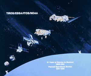 Television Infrared Observation Satellite - Diagram showing progression of meteorological satellites from TIROS I to TIROS-N